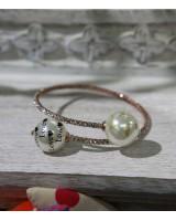 珍珠仿鑽手鈪-玫瑰金