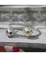 珍珠仿鑽手鈪-銀色