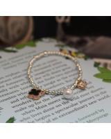 四葉草珍珠吊飾手鏈-玫瑰金