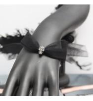LACE骷髏頭手帶-黑色