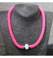 鋼絲仿鑽頸鏈-桃紅色