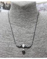仿鑽骷髏頭頸鏈-銀黑色