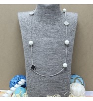 四葉草珍珠長頸鏈-銀色