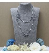 珍珠鋼絲長頸鏈-黑色