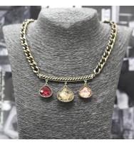 時款晶石頸鏈-古銅色