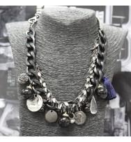 時款吊飾頸鏈-黑色