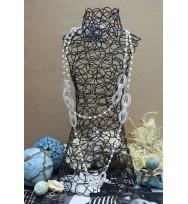 珍珠鋼絲長頸鏈-銀白色